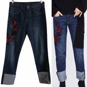 Zara Floral Embroidered Cigarette Cuff Jeans
